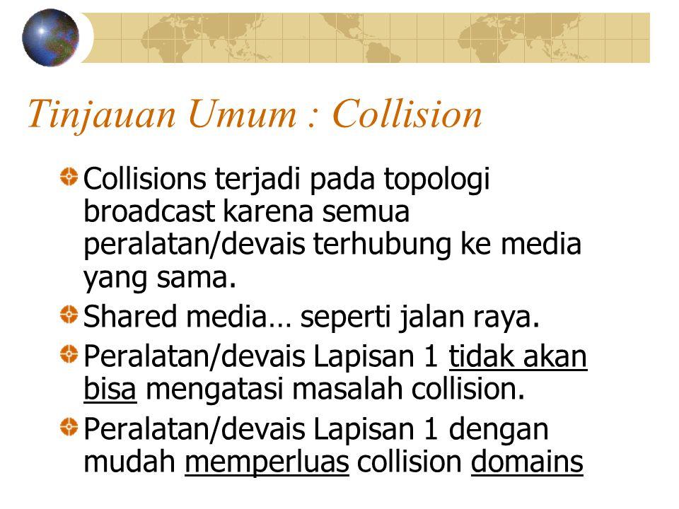 Tinjauan Umum : Collision Collisions terjadi pada topologi broadcast karena semua peralatan/devais terhubung ke media yang sama.