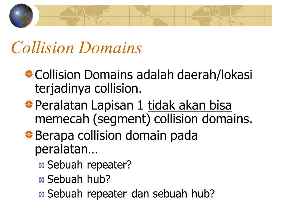 Collision Domains Collision Domains adalah daerah/lokasi terjadinya collision.