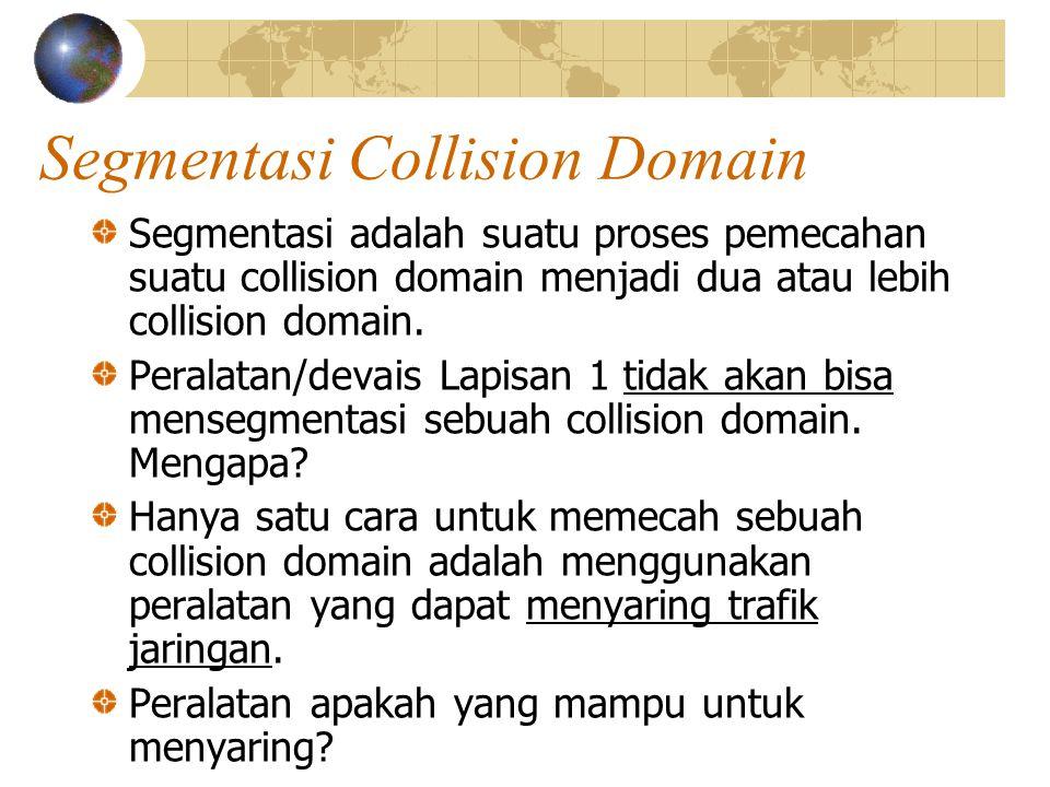 Segmentasi Collision Domain Segmentasi adalah suatu proses pemecahan suatu collision domain menjadi dua atau lebih collision domain.