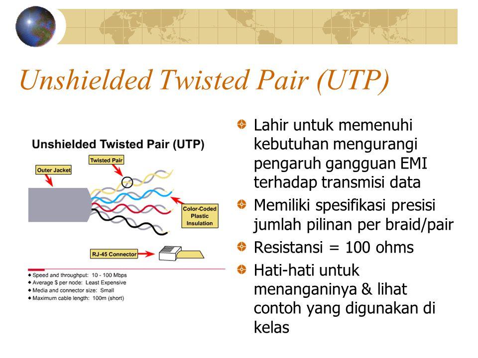 Unshielded Twisted Pair (UTP) Lahir untuk memenuhi kebutuhan mengurangi pengaruh gangguan EMI terhadap transmisi data Memiliki spesifikasi presisi jumlah pilinan per braid/pair Resistansi = 100 ohms Hati-hati untuk menanganinya & lihat contoh yang digunakan di kelas