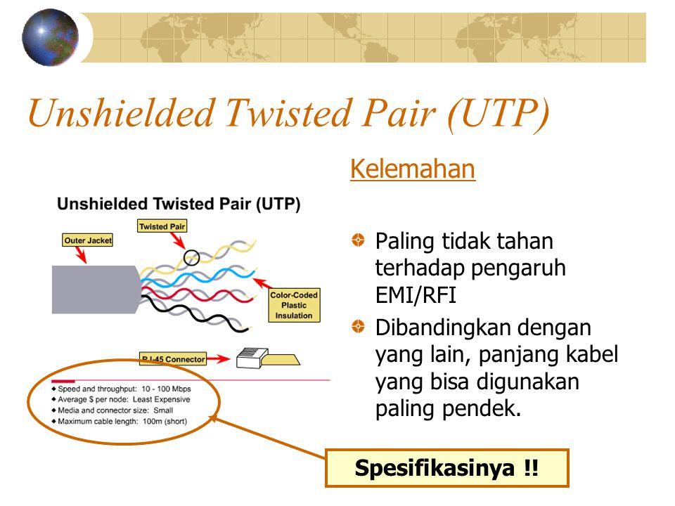 Unshielded Twisted Pair (UTP) Kelemahan Paling tidak tahan terhadap pengaruh EMI/RFI Dibandingkan dengan yang lain, panjang kabel yang bisa digunakan paling pendek.