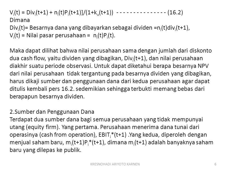 KRESNOHADI ARIYOTO KARNEN6 V i (t) = Div i (t+1) + n i (t)P i (t+1)]/(1+k u (t+1)) - - - - - - - - - - - - - - - (16.2) Dimana Div i (t)= Besarnya dan