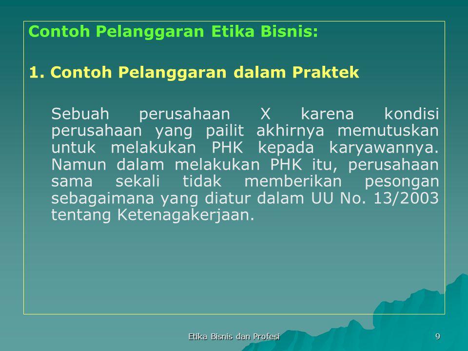 Etika Bisnis dan Profesi 9 Contoh Pelanggaran Etika Bisnis: 1. Contoh Pelanggaran dalam Praktek Sebuah perusahaan X karena kondisi perusahaan yang pai