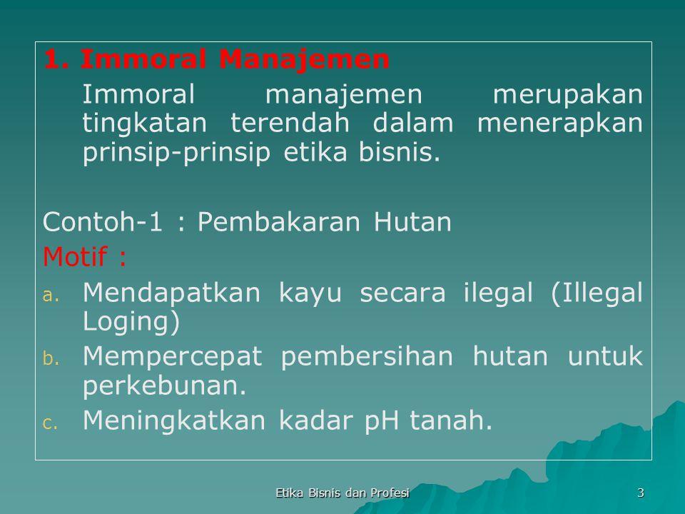 Etika Bisnis dan Profesi 3 1. Immoral Manajemen Immoral manajemen merupakan tingkatan terendah dalam menerapkan prinsip-prinsip etika bisnis. Contoh-1