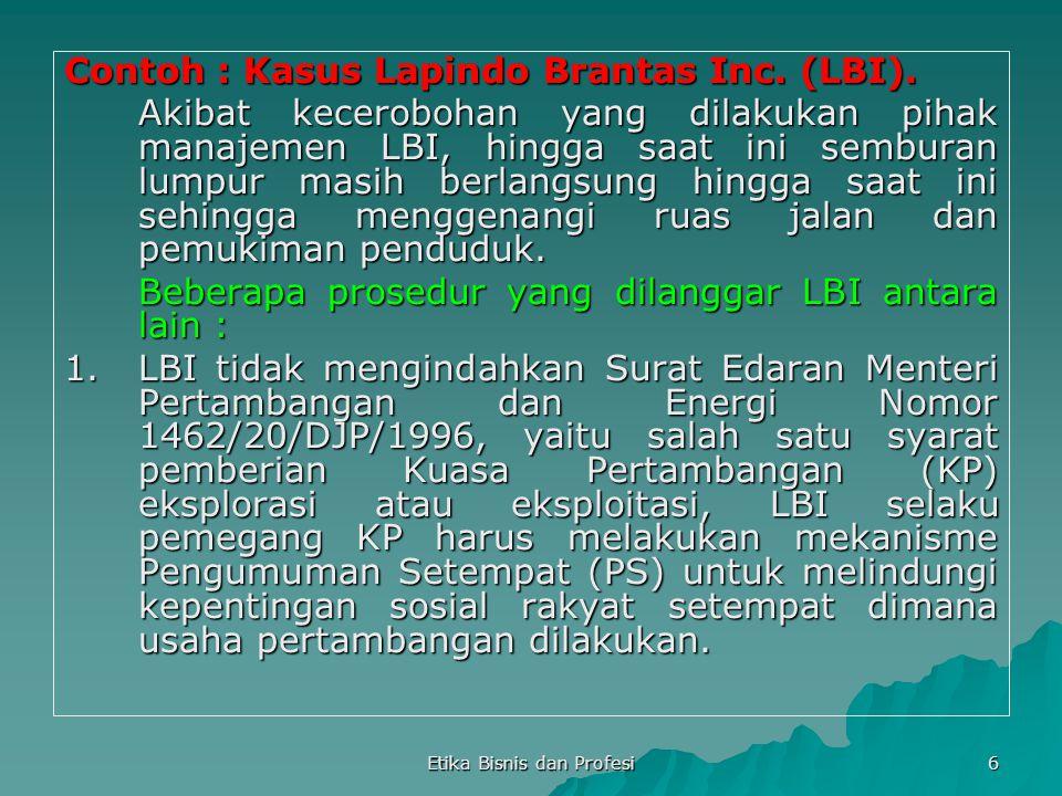 6 Contoh : Kasus Lapindo Brantas Inc. (LBI). Akibat kecerobohan yang dilakukan pihak manajemen LBI, hingga saat ini semburan lumpur masih berlangsung