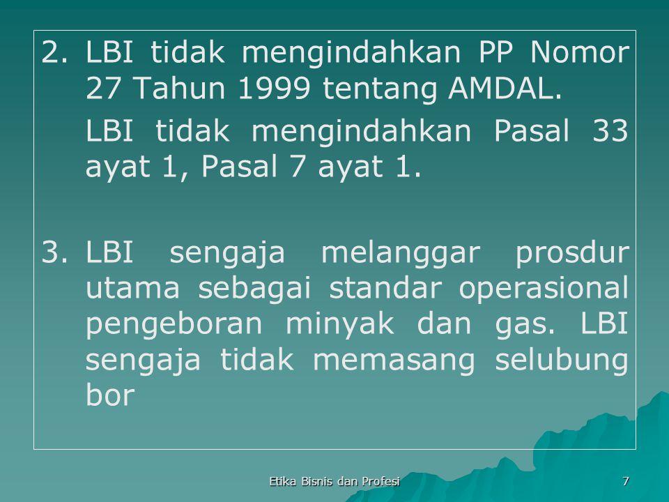 Etika Bisnis dan Profesi 7 2.LBI tidak mengindahkan PP Nomor 27 Tahun 1999 tentang AMDAL. LBI tidak mengindahkan Pasal 33 ayat 1, Pasal 7 ayat 1. 3.LB