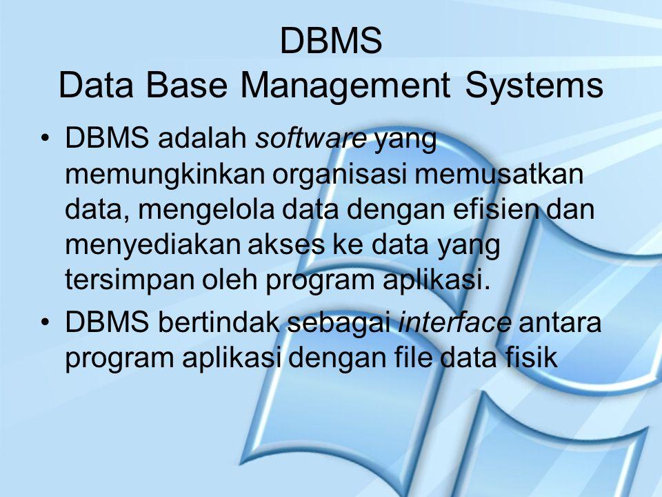 DBMS Data Base Management Systems DBMS adalah software yang memungkinkan organisasi memusatkan data, mengelola data dengan efisien dan menyediakan aks