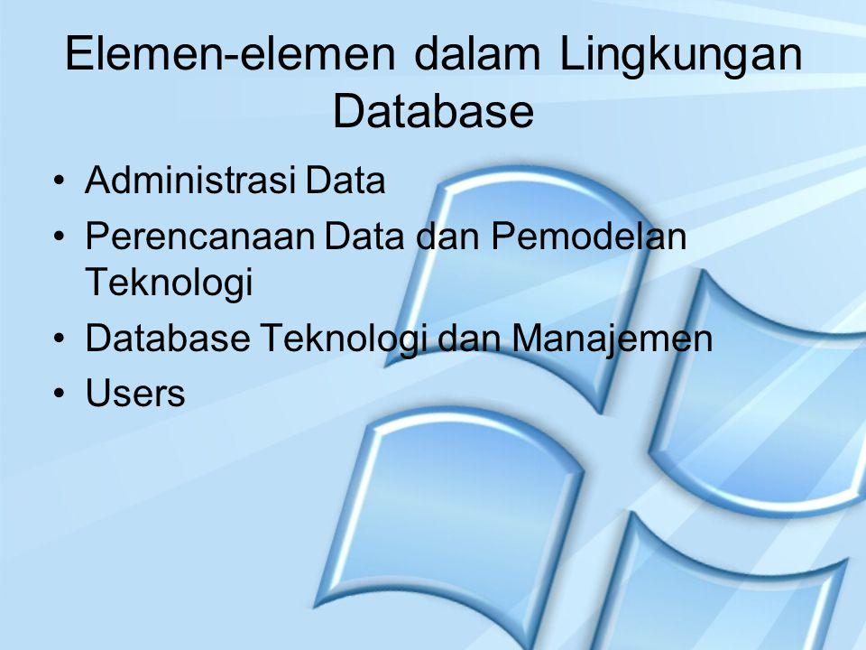 Elemen-elemen dalam Lingkungan Database Administrasi Data Perencanaan Data dan Pemodelan Teknologi Database Teknologi dan Manajemen Users