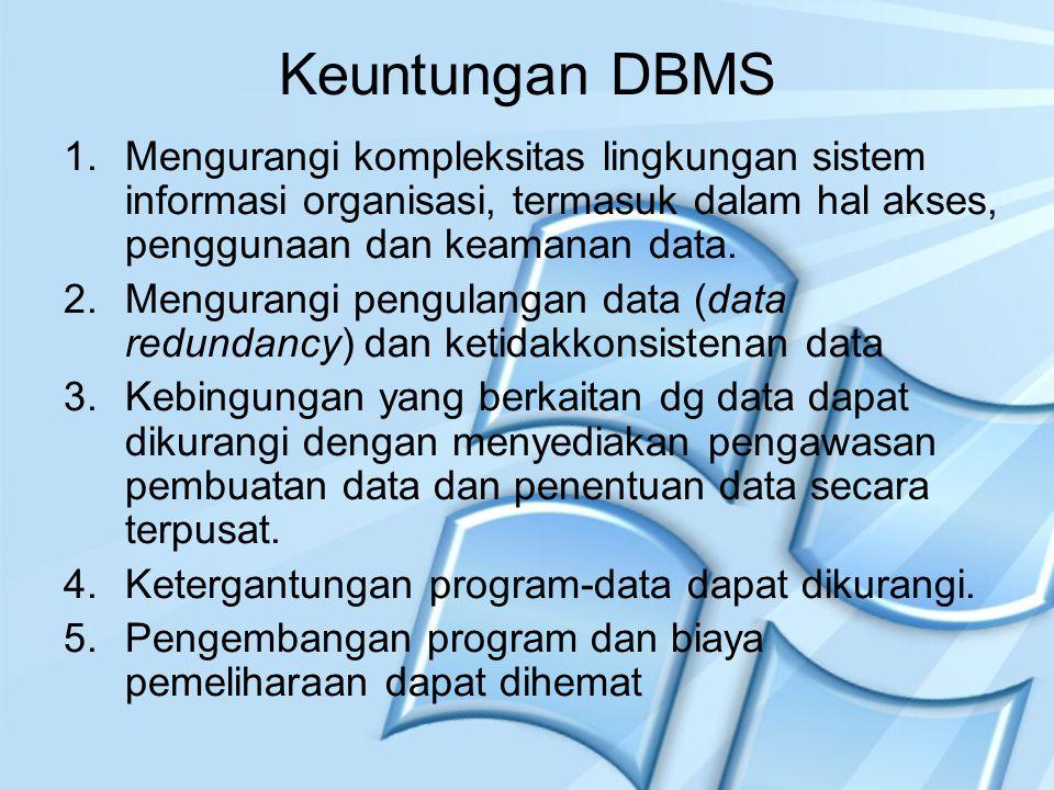 Keuntungan DBMS 1.Mengurangi kompleksitas lingkungan sistem informasi organisasi, termasuk dalam hal akses, penggunaan dan keamanan data. 2.Mengurangi