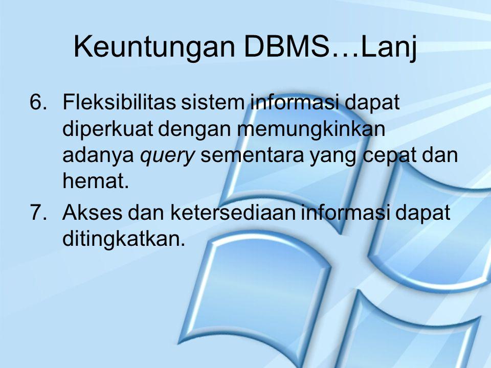 Keuntungan DBMS…Lanj 6.Fleksibilitas sistem informasi dapat diperkuat dengan memungkinkan adanya query sementara yang cepat dan hemat. 7.Akses dan ket