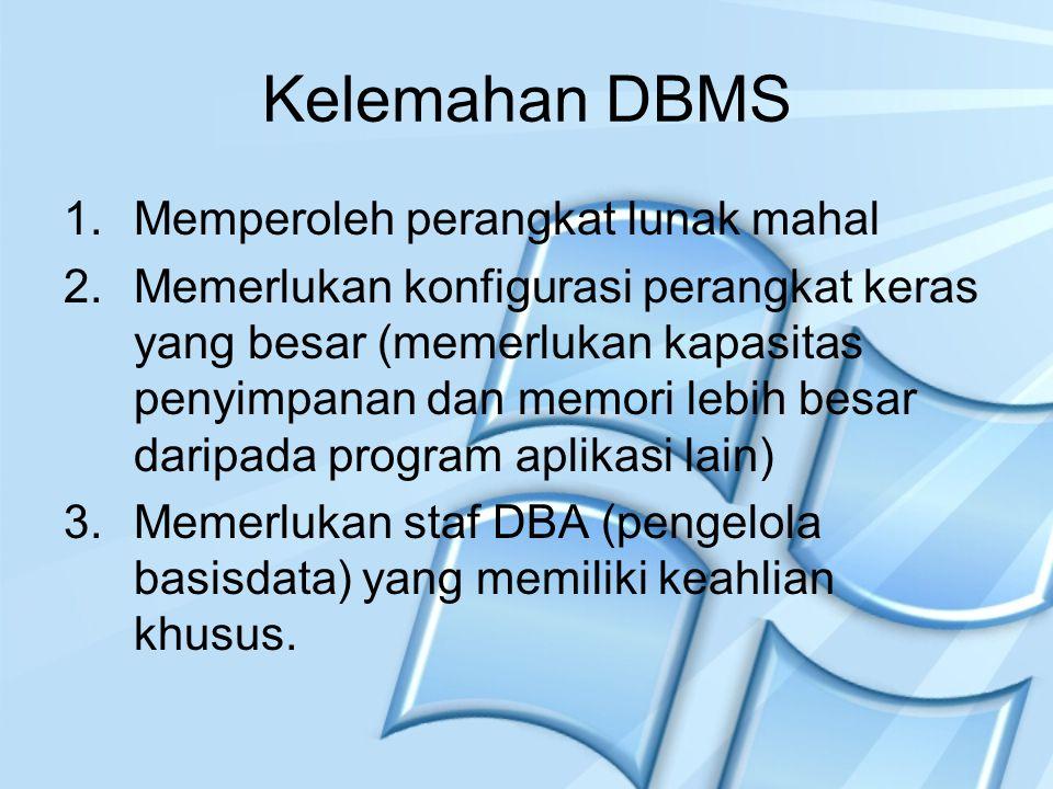 Kelemahan DBMS 1.Memperoleh perangkat lunak mahal 2.Memerlukan konfigurasi perangkat keras yang besar (memerlukan kapasitas penyimpanan dan memori leb