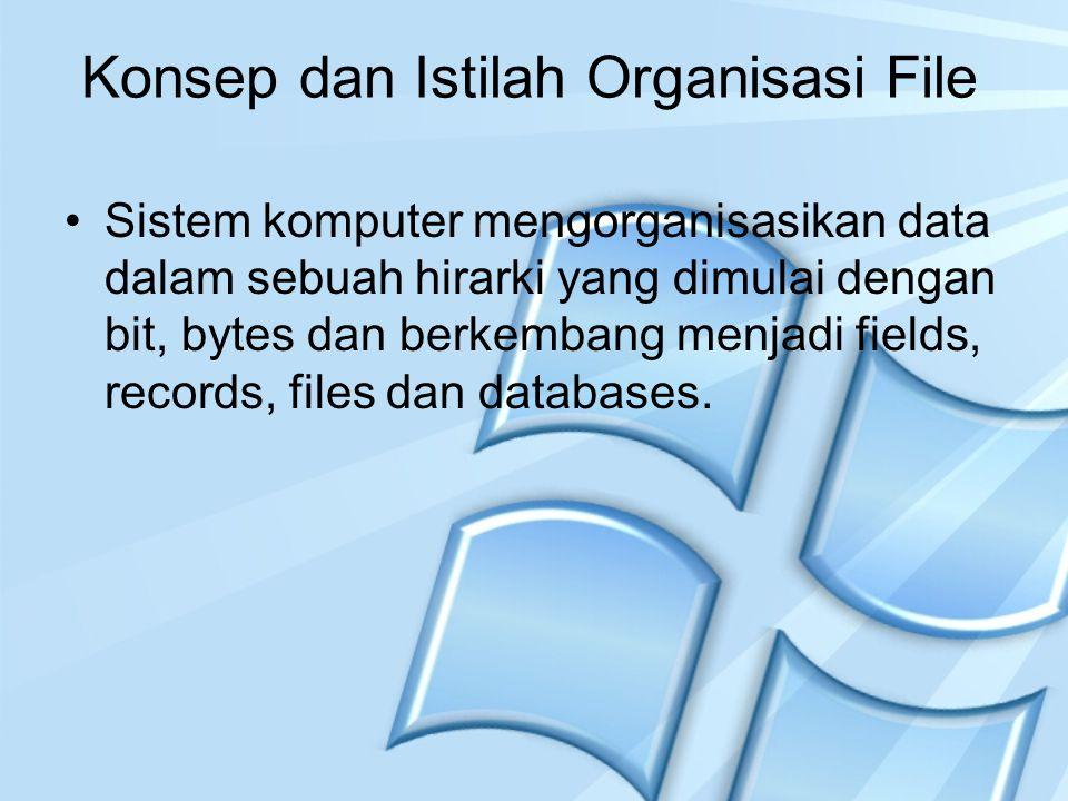 Konsep dan Istilah Organisasi File Sistem komputer mengorganisasikan data dalam sebuah hirarki yang dimulai dengan bit, bytes dan berkembang menjadi f