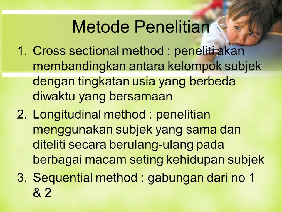 Metode Penelitian 1.Cross sectional method : peneliti akan membandingkan antara kelompok subjek dengan tingkatan usia yang berbeda diwaktu yang bersamaan 2.Longitudinal method : penelitian menggunakan subjek yang sama dan diteliti secara berulang-ulang pada berbagai macam seting kehidupan subjek 3.Sequential method : gabungan dari no 1 & 2