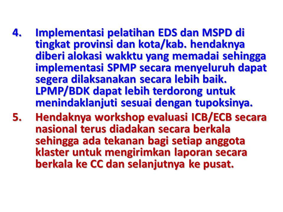 4.Implementasi pelatihan EDS dan MSPD di tingkat provinsi dan kota/kab.