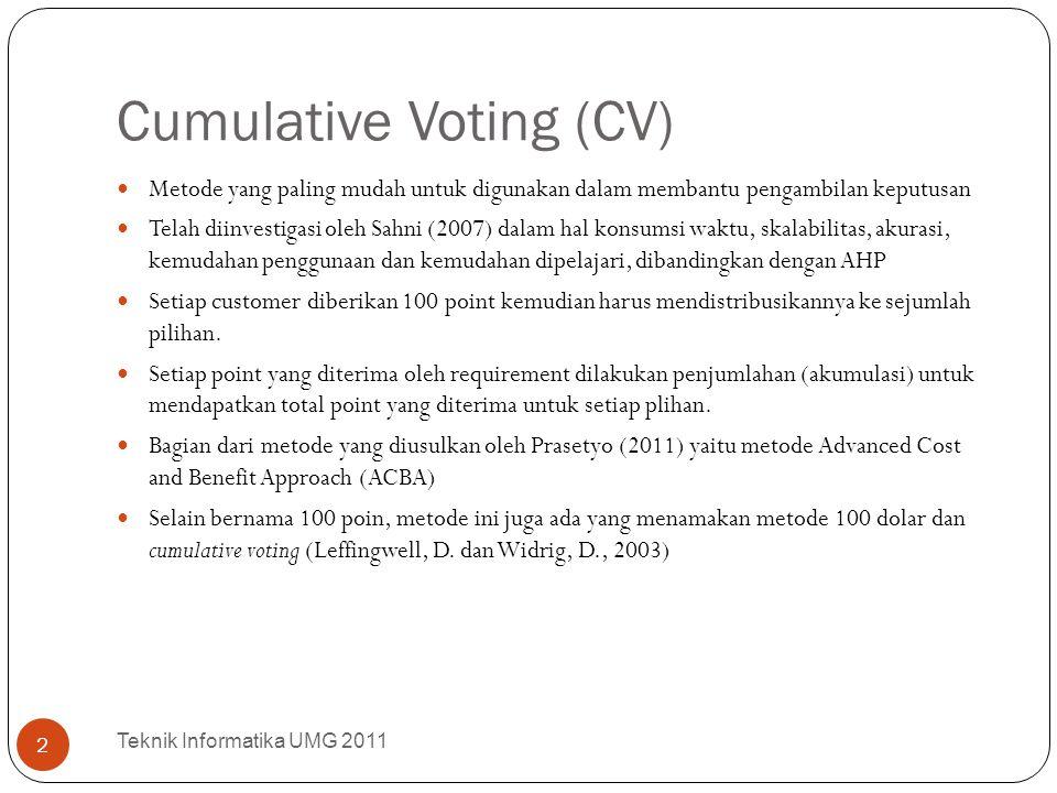 Cumulative Voting (CV) Metode yang paling mudah untuk digunakan dalam membantu pengambilan keputusan Telah diinvestigasi oleh Sahni (2007) dalam hal k