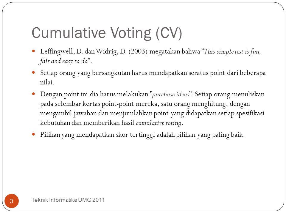"""Cumulative Voting (CV) Leffingwell, D. dan Widrig, D. (2003) megatakan bahwa """"This simple test is fun, fair and easy to do"""". Setiap orang yang bersang"""