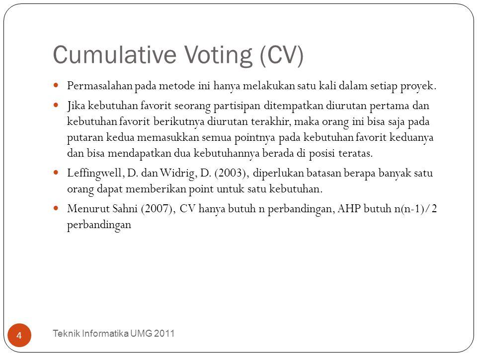 Cumulative Voting (CV) Permasalahan pada metode ini hanya melakukan satu kali dalam setiap proyek. Jika kebutuhan favorit seorang partisipan ditempatk