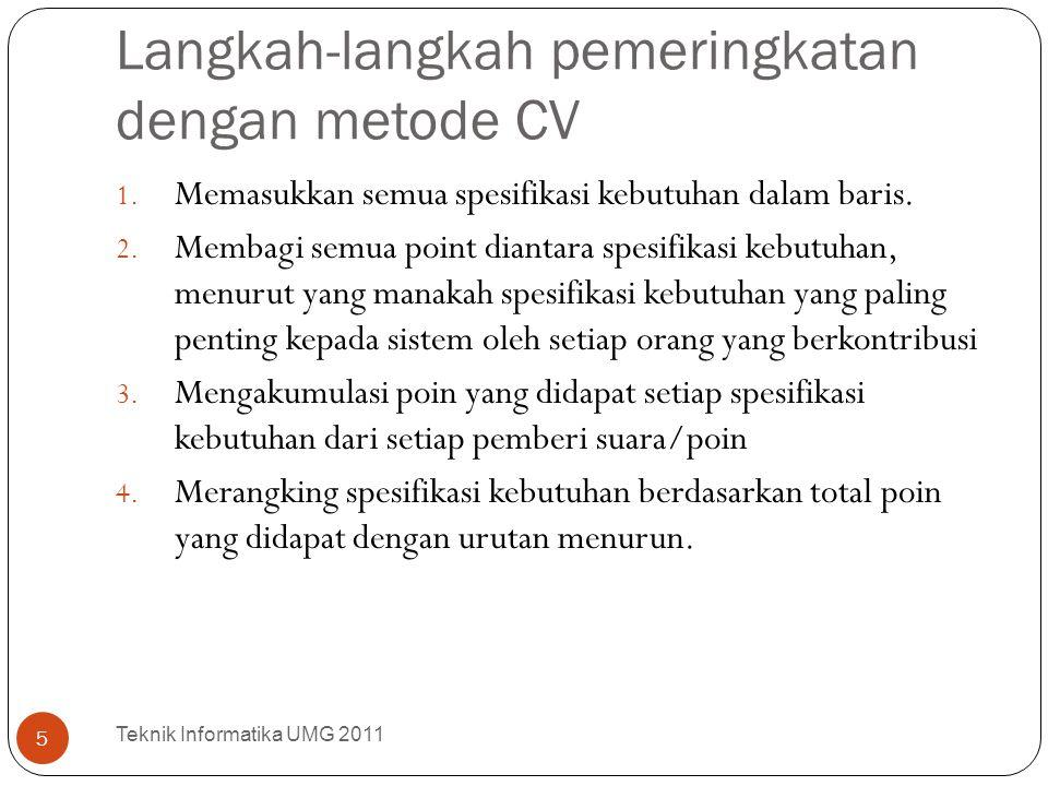 Langkah-langkah pemeringkatan dengan metode CV 1. Memasukkan semua spesifikasi kebutuhan dalam baris. 2. Membagi semua point diantara spesifikasi kebu