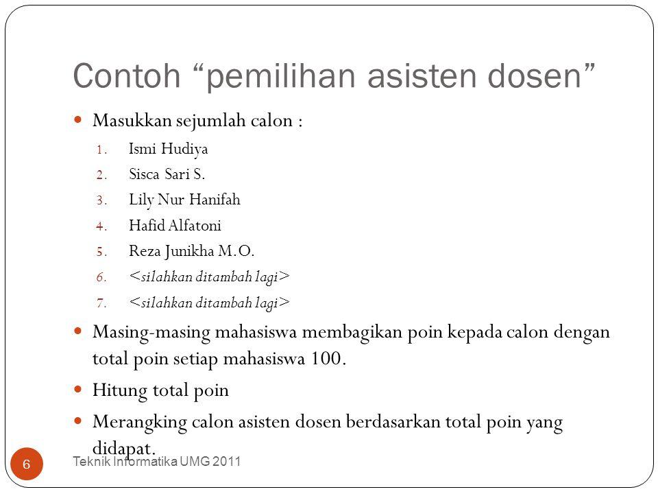 "Contoh ""pemilihan asisten dosen"" Masukkan sejumlah calon : 1. Ismi Hudiya 2. Sisca Sari S. 3. Lily Nur Hanifah 4. Hafid Alfatoni 5. Reza Junikha M.O."