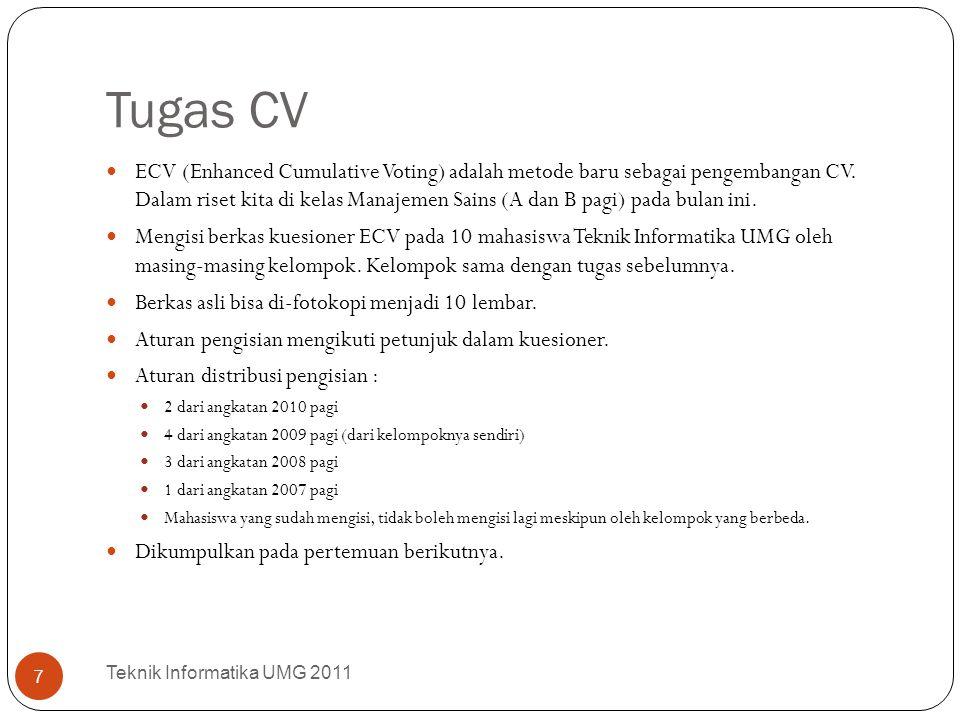 Tugas CV ECV (Enhanced Cumulative Voting) adalah metode baru sebagai pengembangan CV. Dalam riset kita di kelas Manajemen Sains (A dan B pagi) pada bu