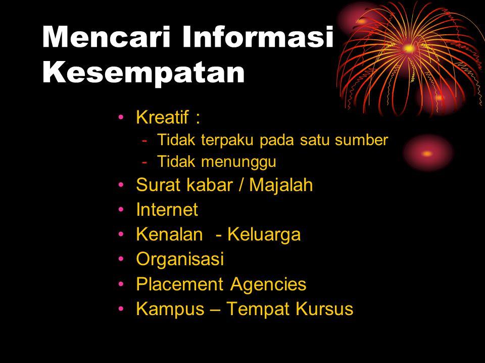 Mencari Informasi Kesempatan Kreatif : -Tidak terpaku pada satu sumber -Tidak menunggu Surat kabar / Majalah Internet Kenalan - Keluarga Organisasi Pl