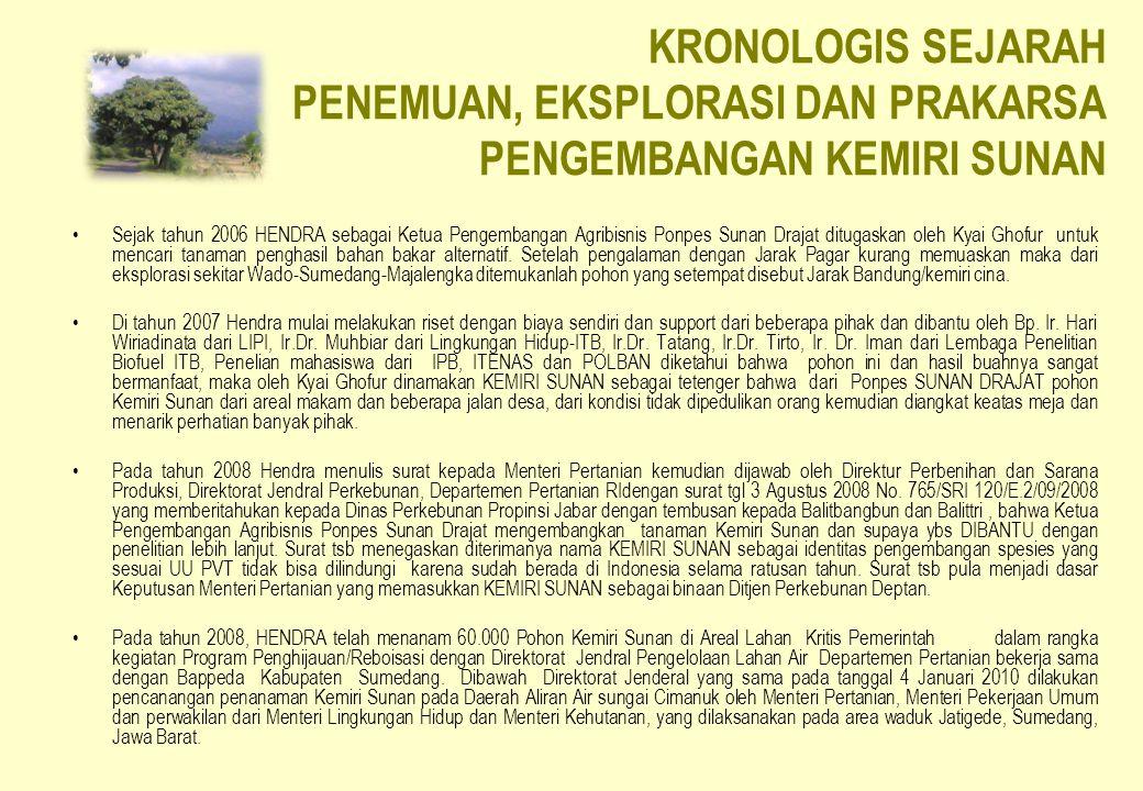 KRONOLOGIS SEJARAH PENEMUAN, EKSPLORASI DAN PRAKARSA PENGEMBANGAN KEMIRI SUNAN Sejak tahun 2006 HENDRA sebagai Ketua Pengembangan Agribisnis Ponpes Su