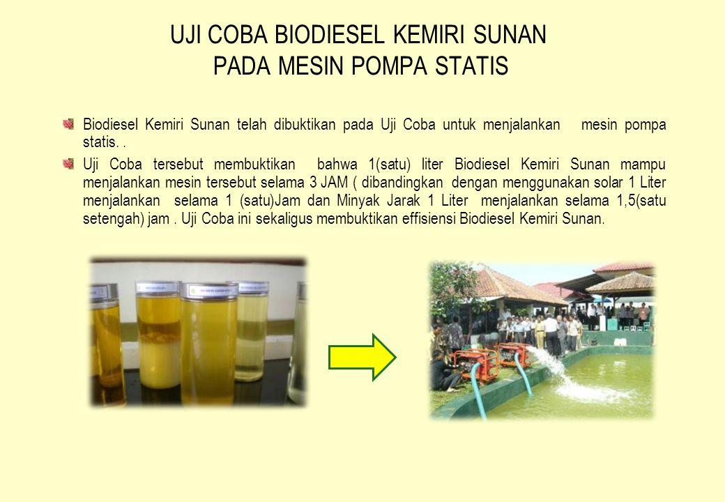 UJI COBA BIODIESEL KEMIRI SUNAN PADA MESIN POMPA STATIS Biodiesel Kemiri Sunan telah dibuktikan pada Uji Coba untuk menjalankan mesin pompa statis.. U