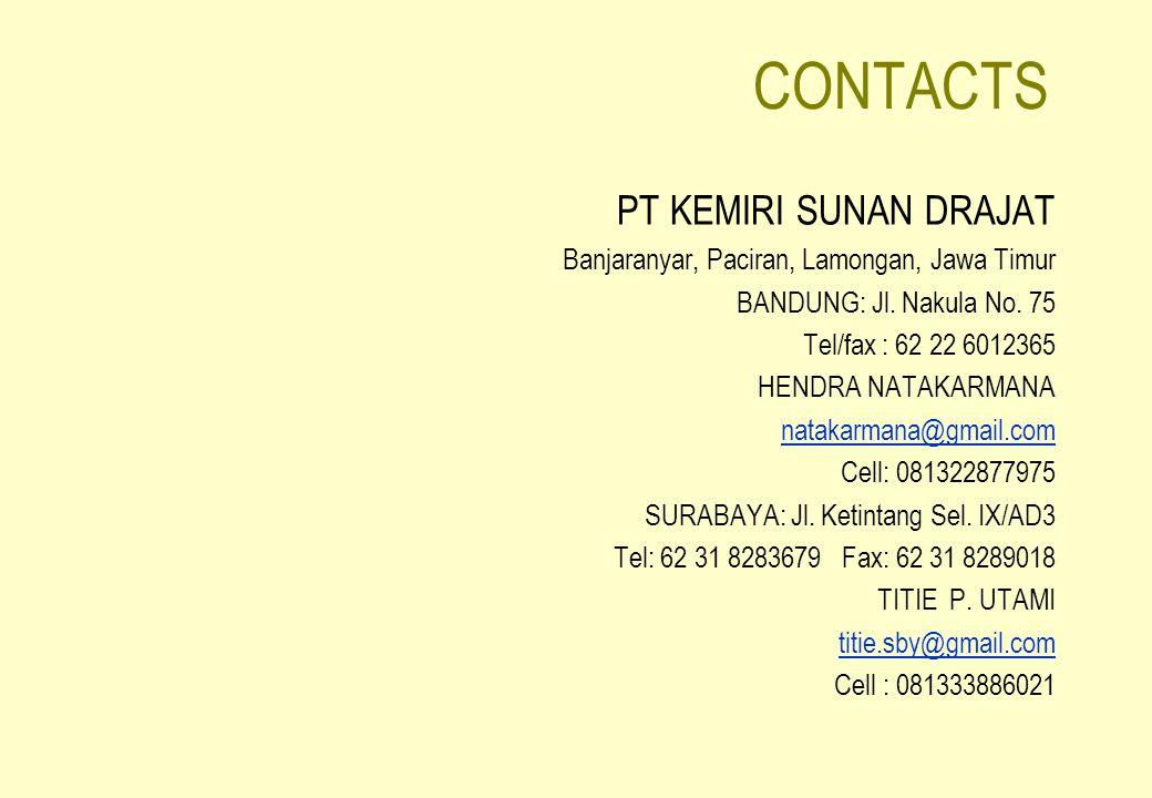 CONTACTS PT KEMIRI SUNAN DRAJAT Banjaranyar, Paciran, Lamongan, Jawa Timur BANDUNG: Jl. Nakula No. 75 Tel/fax : 62 22 6012365 HENDRA NATAKARMANA natak