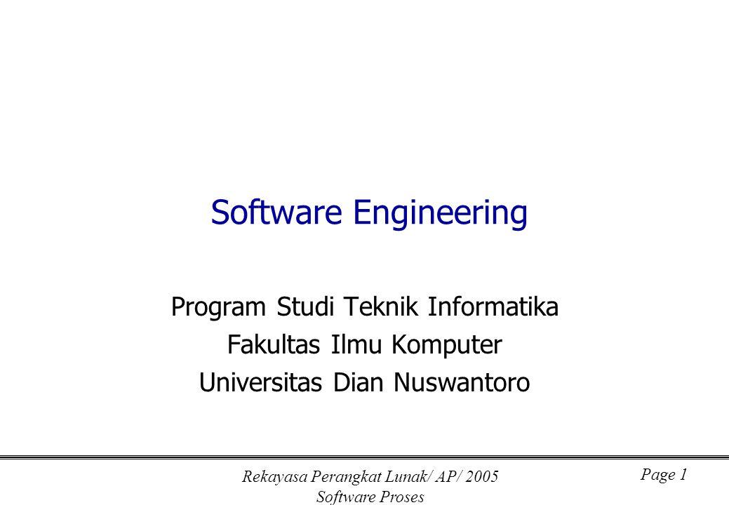 Rekayasa Perangkat Lunak/ AP/ 2005 Software Proses Page 1 Software Engineering Program Studi Teknik Informatika Fakultas Ilmu Komputer Universitas Dia