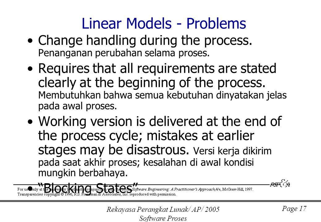 Rekayasa Perangkat Lunak/ AP/ 2005 Software Proses Page 17 Linear Models - Problems Change handling during the process. Penanganan perubahan selama pr