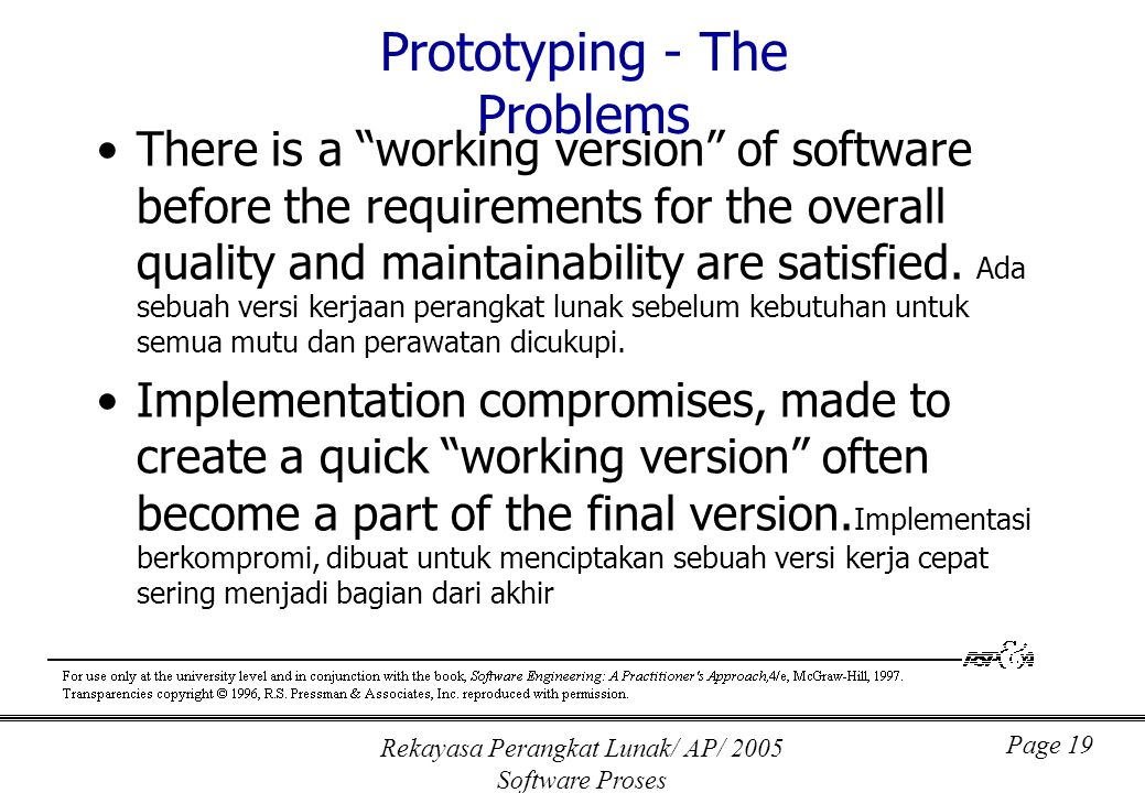 "Rekayasa Perangkat Lunak/ AP/ 2005 Software Proses Page 19 Prototyping - The Problems There is a ""working version"" of software before the requirements"