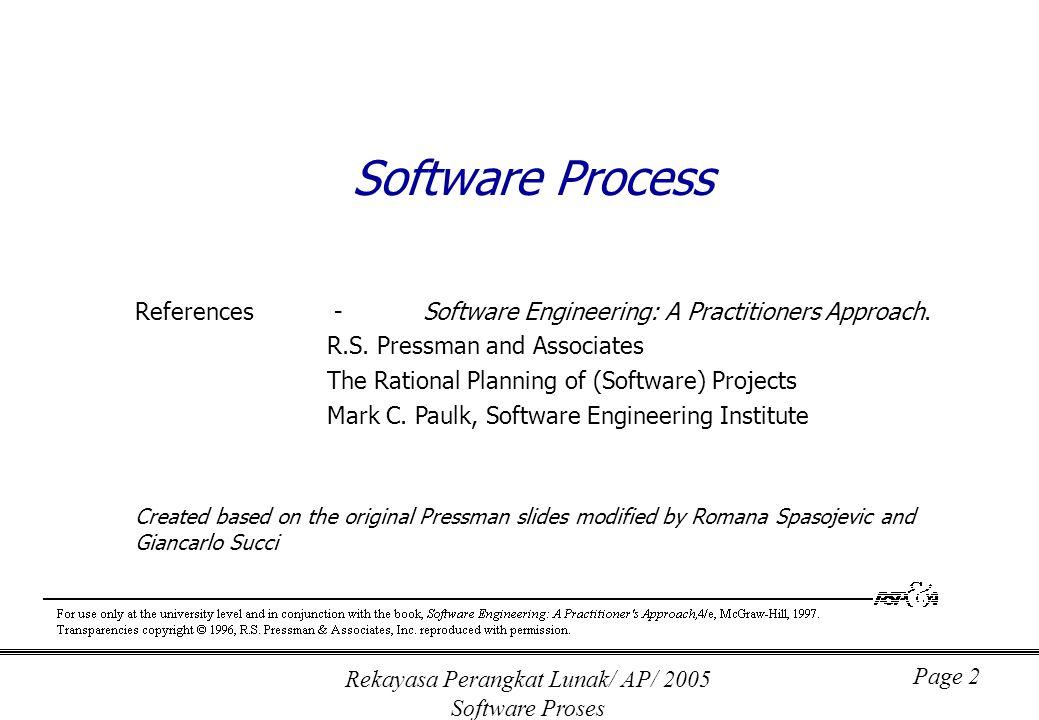 Rekayasa Perangkat Lunak/ AP/ 2005 Software Proses Page 13 Capability Maturity Model (CMM) Level 1: Initial Level 2: Repeatable Level 3: Defined Level 4: Managed Level 5: Optimizing