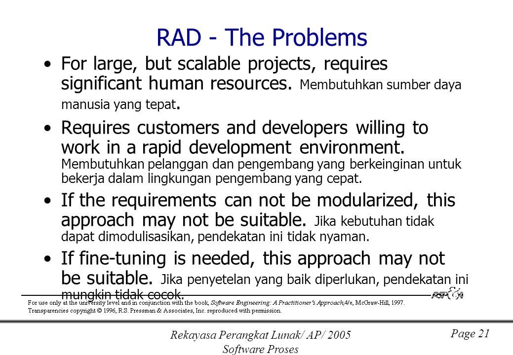 Rekayasa Perangkat Lunak/ AP/ 2005 Software Proses Page 21 RAD - The Problems For large, but scalable projects, requires significant human resources.