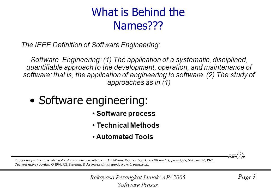 Rekayasa Perangkat Lunak/ AP/ 2005 Software Proses Page 4 A Layered Technology Software Engineering