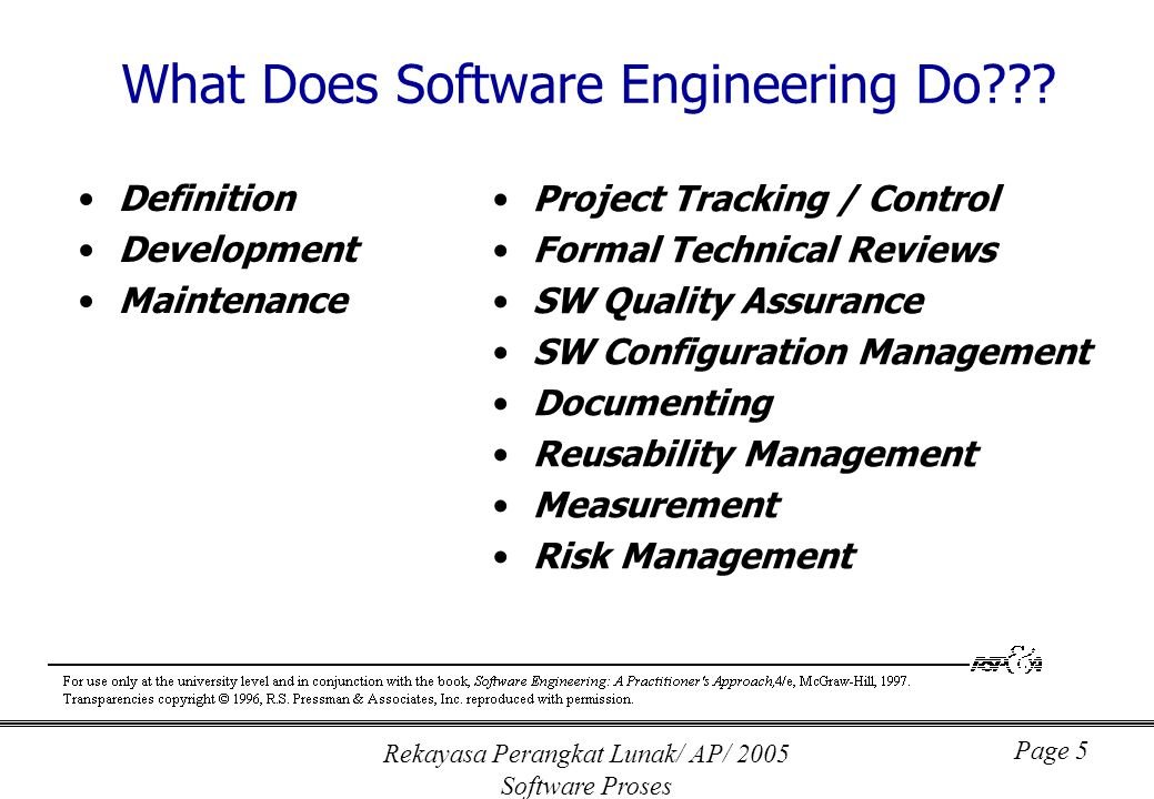 Rekayasa Perangkat Lunak/ AP/ 2005 Software Proses Page 6 Definition (What???) System or information engineering Software project planning Requirements analysis