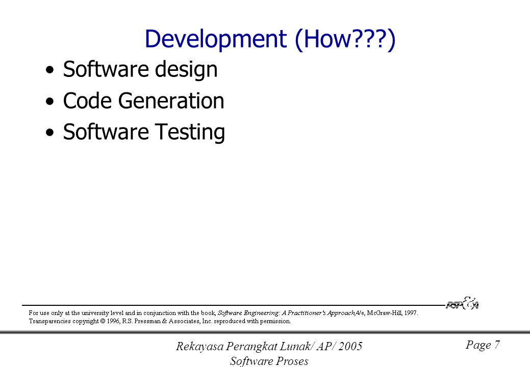 Rekayasa Perangkat Lunak/ AP/ 2005 Software Proses Page 7 Development (How???) Software design Code Generation Software Testing