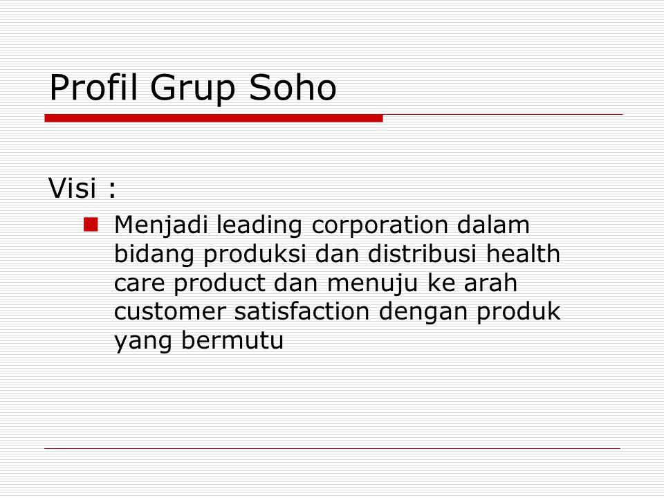 Profil Grup Soho Visi : Menjadi leading corporation dalam bidang produksi dan distribusi health care product dan menuju ke arah customer satisfaction dengan produk yang bermutu