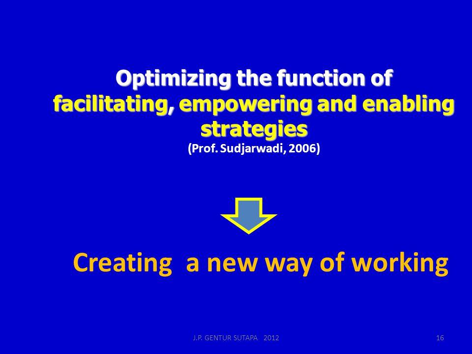 Optimizing the function of facilitating, empowering and enabling strategies Optimizing the function of facilitating, empowering and enabling strategies (Prof.