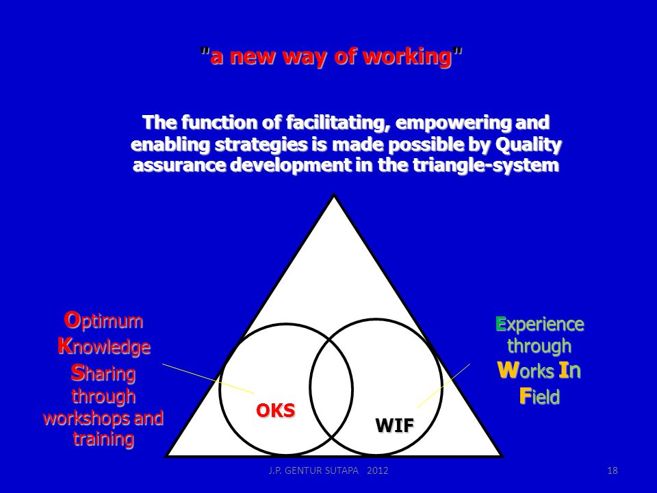 a new way of working The function of facilitating, empowering and enabling strategies is made possible by Quality assurance development in the triangle-system O ptimum K nowledge S haring through workshops and training Experience through W orks In F ield OKS WIF J.P.