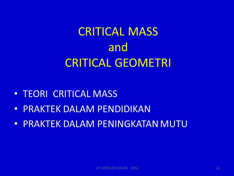 CRITICAL MASS and CRITICAL GEOMETRI TEORI CRITICAL MASS PRAKTEK DALAM PENDIDIKAN PRAKTEK DALAM PENINGKATAN MUTU J.P. GENTUR SUTAPA 201222