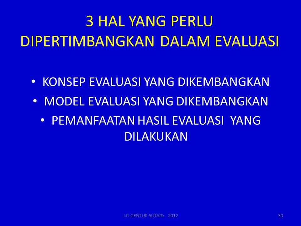 3 HAL YANG PERLU DIPERTIMBANGKAN DALAM EVALUASI KONSEP EVALUASI YANG DIKEMBANGKAN MODEL EVALUASI YANG DIKEMBANGKAN PEMANFAATAN HASIL EVALUASI YANG DILAKUKAN J.P.