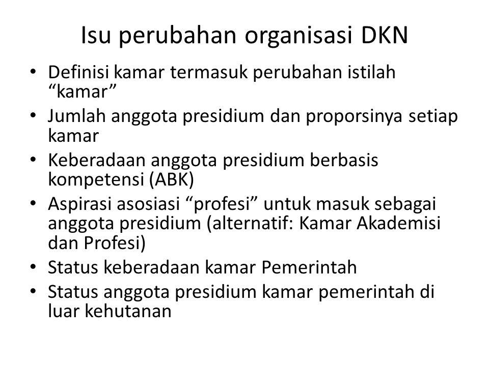 "Isu perubahan organisasi DKN Definisi kamar termasuk perubahan istilah ""kamar"" Jumlah anggota presidium dan proporsinya setiap kamar Keberadaan anggot"