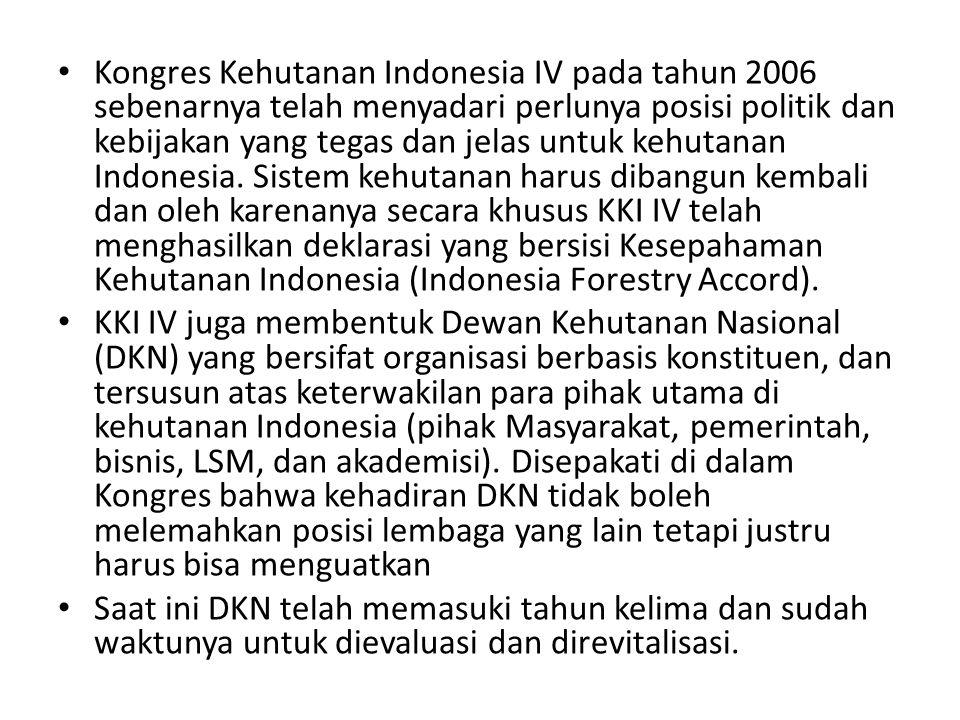 Kongres Kehutanan Indonesia IV pada tahun 2006 sebenarnya telah menyadari perlunya posisi politik dan kebijakan yang tegas dan jelas untuk kehutanan I