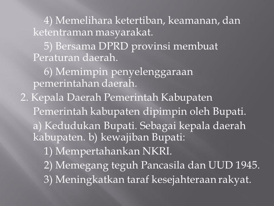 4) Memelihara ketertiban, keamanan, dan ketentraman masyarakat. 5) Bersama DPRD provinsi membuat Peraturan daerah. 6) Memimpin penyelenggaraan pemerin