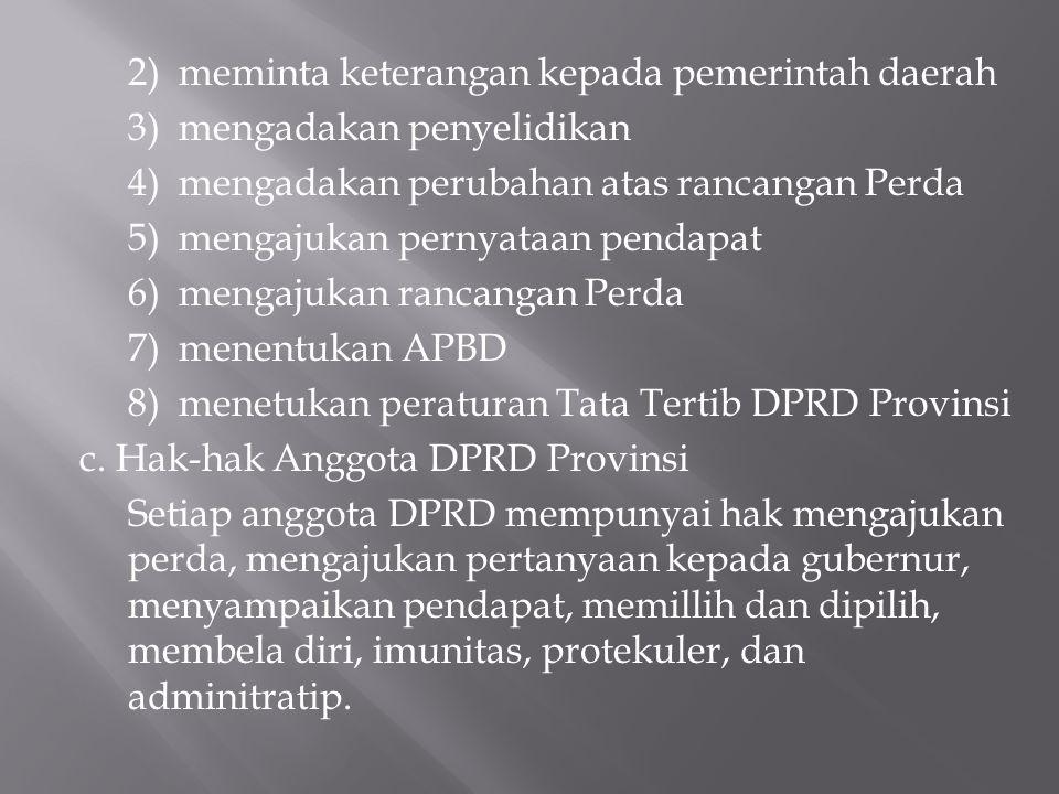 2) meminta keterangan kepada pemerintah daerah 3) mengadakan penyelidikan 4) mengadakan perubahan atas rancangan Perda 5) mengajukan pernyataan pendap