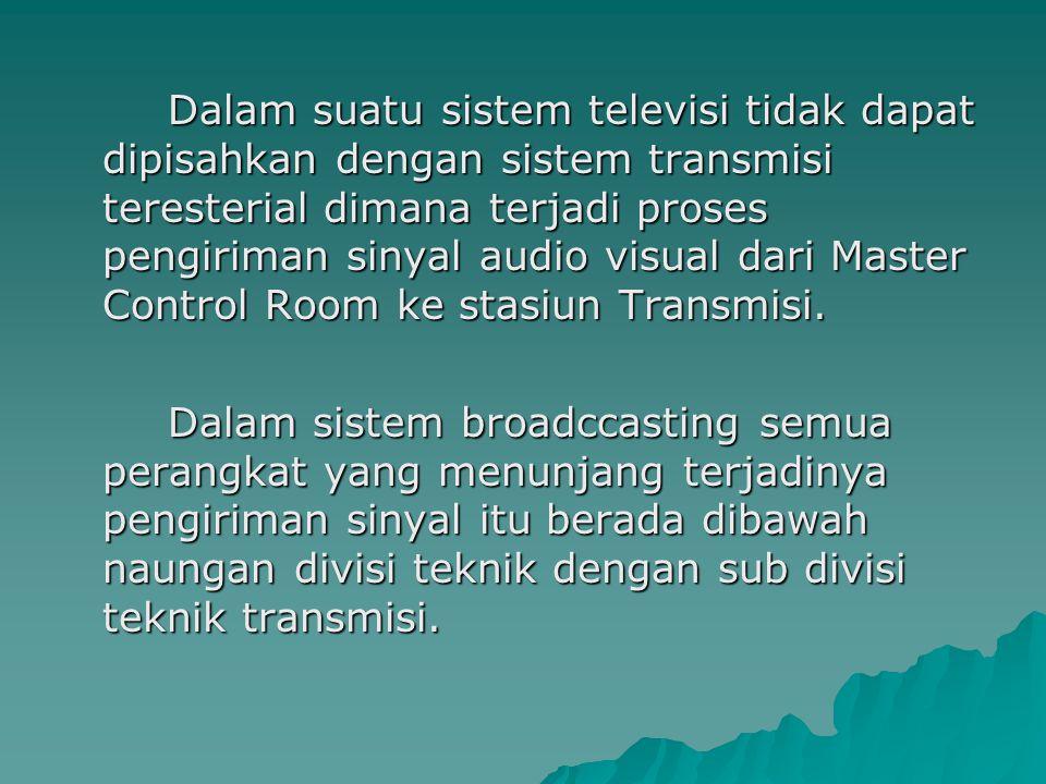 Dalam suatu sistem televisi tidak dapat dipisahkan dengan sistem transmisi teresterial dimana terjadi proses pengiriman sinyal audio visual dari Master Control Room ke stasiun Transmisi.