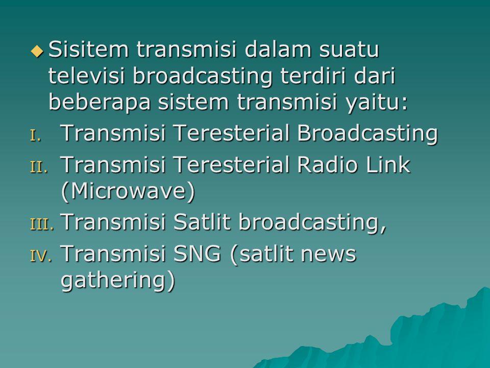 Transmisi Teresterial Broadcasting Sisitem transmisi teresterial broadcasting adalah sisitem transmisi yang rambatan sinyalnya merambat diatas pemukaan bumi.