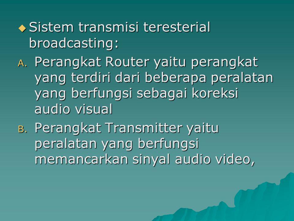  Sistem transmisi teresterial broadcasting: A.