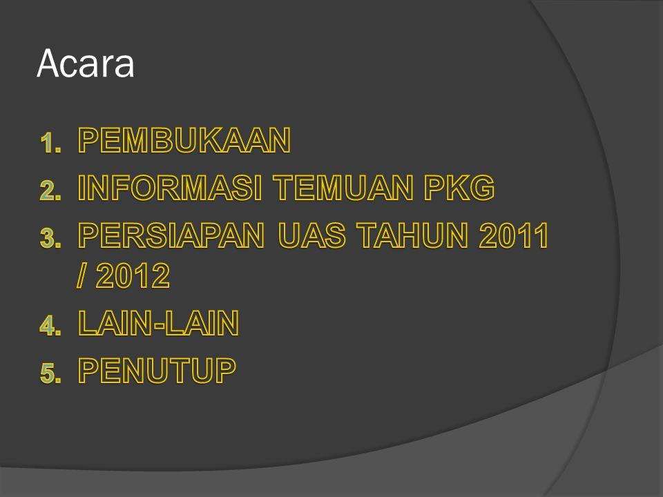 Temuan PKG tahun 2011 1.Kurangnya Pemahaman Guru terhadap Kalender akademik/pendidikan 2.