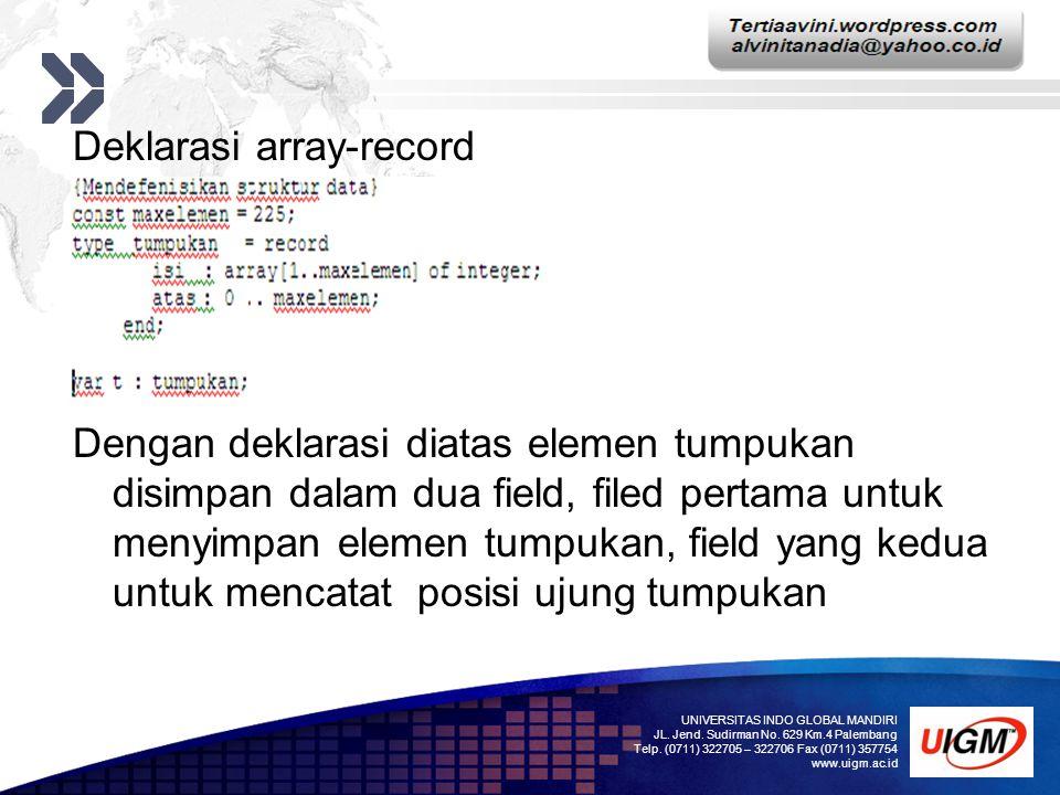 Add your company slogan LOGO Deklarasi array-record Dengan deklarasi diatas elemen tumpukan disimpan dalam dua field, filed pertama untuk menyimpan el
